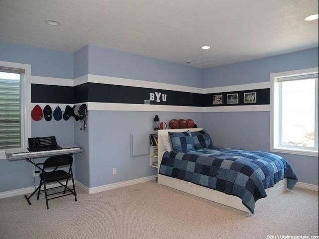 Love this color scheme for a boys room and especially love the stripe at  top. Simple things you can do with paint to give a more custom look to a h