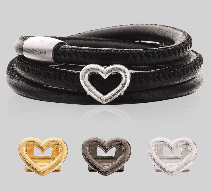 WISH læder armbånd incl. led i forgyldt, sølv eller sort rhodineret.  http://www.fangels.dk/fangels-dk-wish-armband-scrouples/armband-scrouples.html