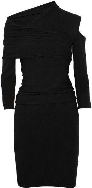 Donna Karan New York Draped Stretch-Jersey Dress in Black - Lyst
