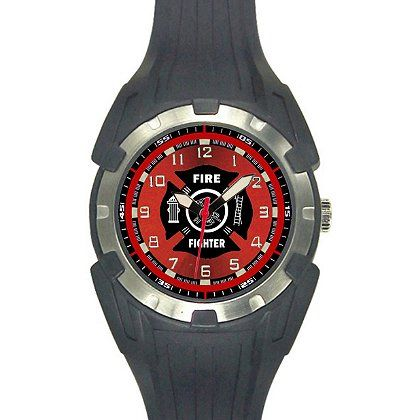 Aquaforce: 56Y, Black and Red Analog Firefighters Watch #TheFireStore