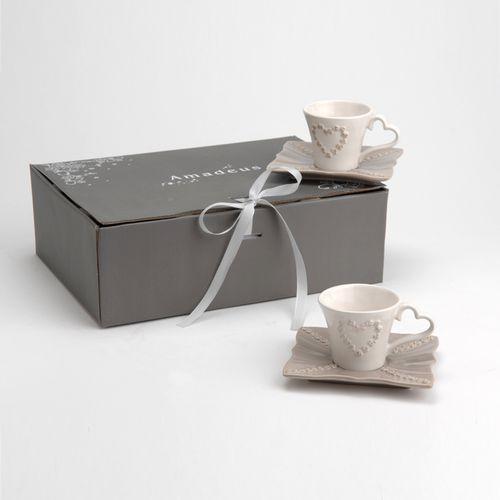 Amadeus - Tasse expresso en dolomie taupe/blanc motif cœur + sous tasse - Lot de 6 Romance - 107377
