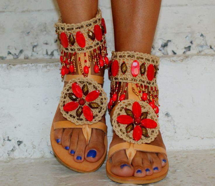 "Ethnic Sandals/ Boho Sandals/ Leather Sandals/ Handmade Sandals/ Beaded Sandals/ Decorated crosheted Sandals/ Gladiator Sandals ""KASHMIR"" by magosisters on Etsy https://www.etsy.com/listing/398236677/ethnic-sandals-boho-sandals-leather"