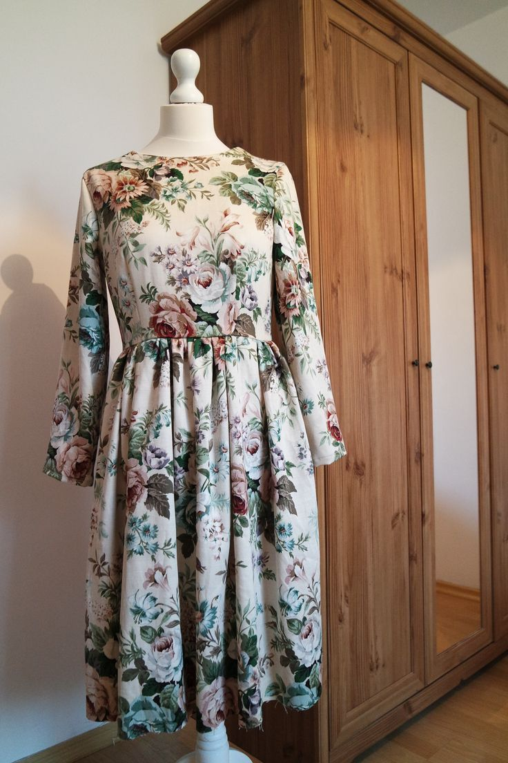 Vintage fabric into nice floral dress