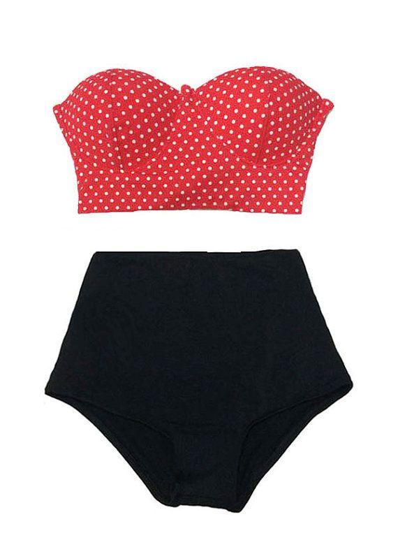 Red White Polka Dot White Scallop Scalloped Loops Top and Black Ruffle Ruffled High Waisted Waist High-Waist Swimsuit Swimwear Bikini S M