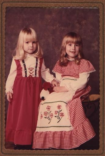 Day 9: younger you.  I'm on the left - probably 4 or 5 years old - 1978 or 79. Dresses made by my Grandmother - check out my blog for more about that!  http://apenne4yourthoughts.blogspot.ca/2012/03/tribute-to-my-grandma-violet-bramhall.html