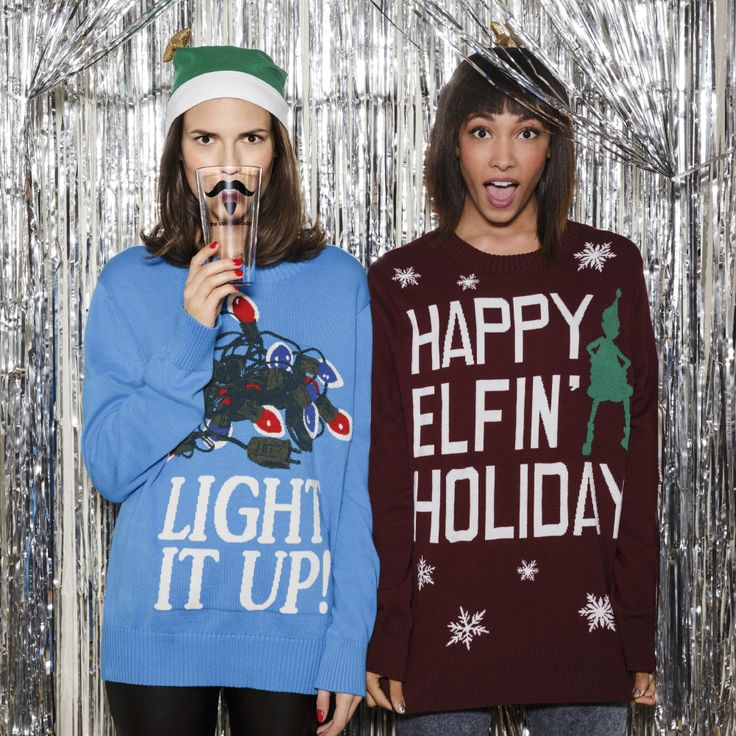 "So you're having an Ugly Sweater Christmas Party? Try borrowing from the boys with these amusing oversized sweatshirts (Another one of our faves: ""Meowy Christmas."") own it now:- Mens' Ugly Sweater Collection"