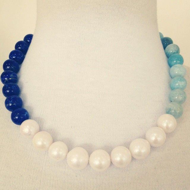 Gorgeous for the blue lovers! #lapis #aquamarine #freshwaterpearl #lovethispiece #portfairy #portfairyjeweller @luonejewellery #luone #necklace