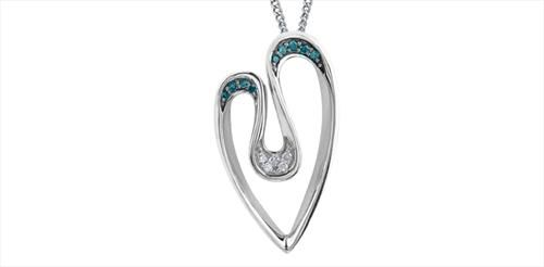 Enhanced Col.blue Diamond Heart Pendant