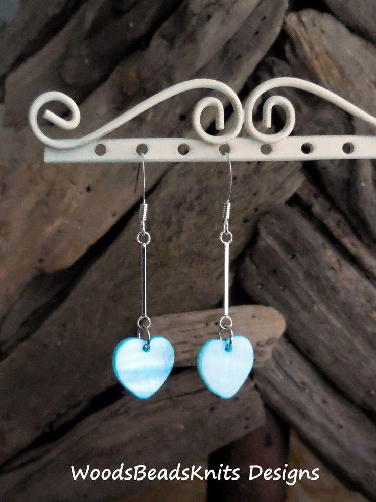 Heart Earrings, Shells, Light Blue, Silver Plated Brass, Nickel Free Lead Free Hooks, Lightweight, Modern, Minimalist
