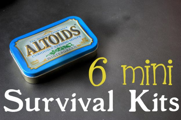 6 mini survival kits. Kids would love to help out with this cute and useful DIY project!