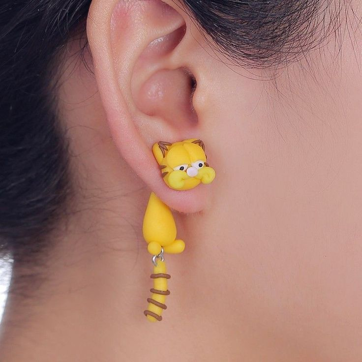 2016 New Design Handmade Cartoon Garfield Cat Stud Earring Fashion Polymer Clay Cute 3D Animal Earrings For Women