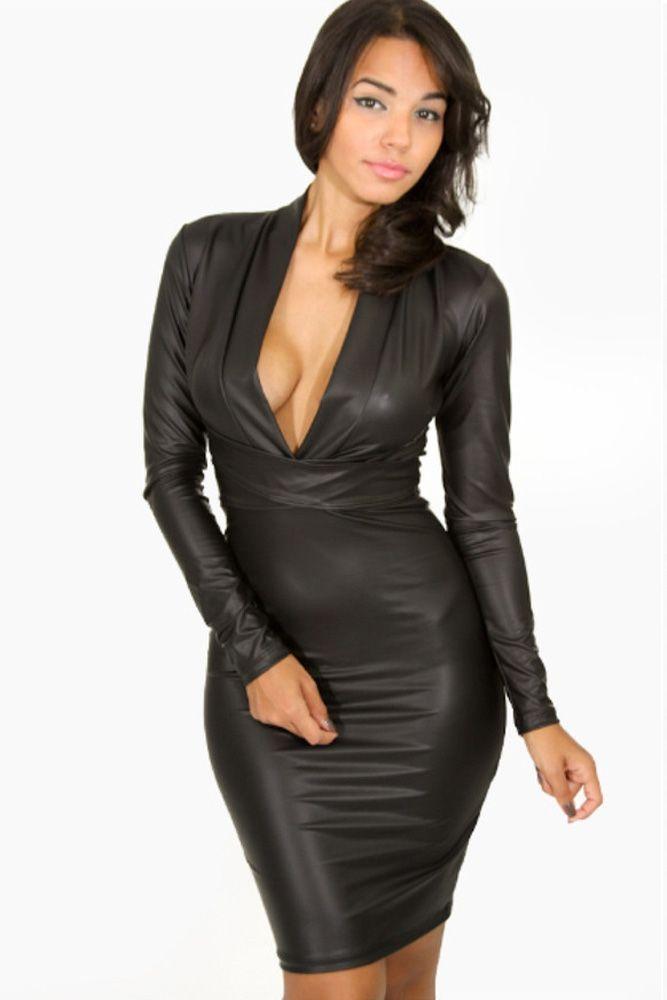 Black Plunging V-neck Long-sleeve Leather Dress