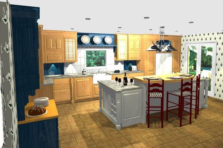 Farmhouse style kitchen with multiple finishes
