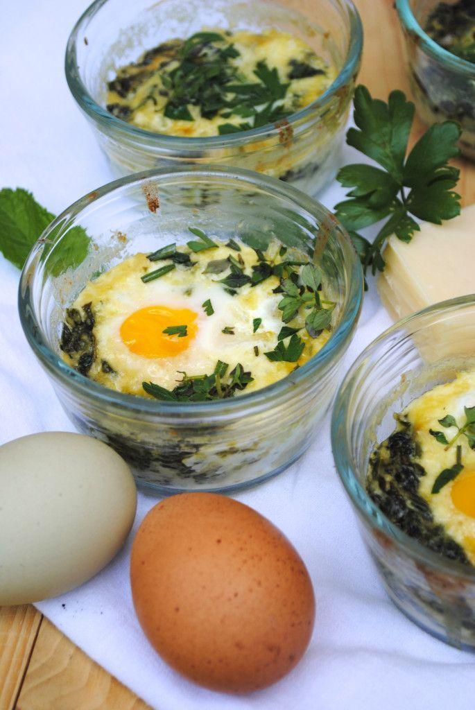 Baked Eggs Florentine in a Ramekin