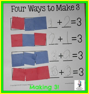 Decomposing numbers using paper squares!  great assessment tool!  A Kindergarten Smorgasboard of Decomposing Numbers