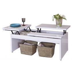 Mesa de centro con elevación frontal y lateral de sus tapas;ideal para la distribuciones de sofá en L. Decora el salón en TopKit, tu tienda de muebles online.