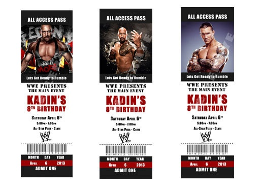 Printable WWE Birthday Party Invitations tickets by MichelleRaye – Wwe Party Invitations