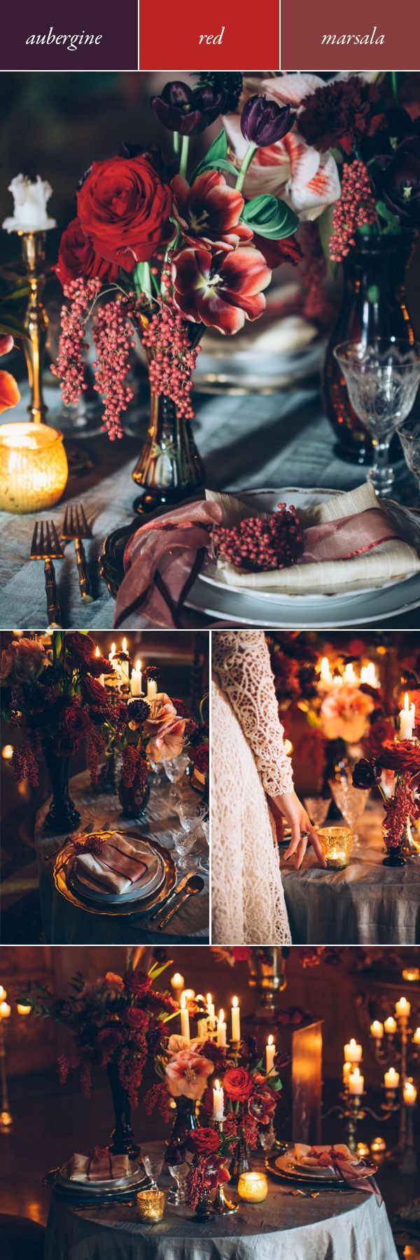 If you aim to give the royal wedding a run for its money, implement a color palette of regal shades like aubergine, red, and marsala. | Images by Stefano Santucci