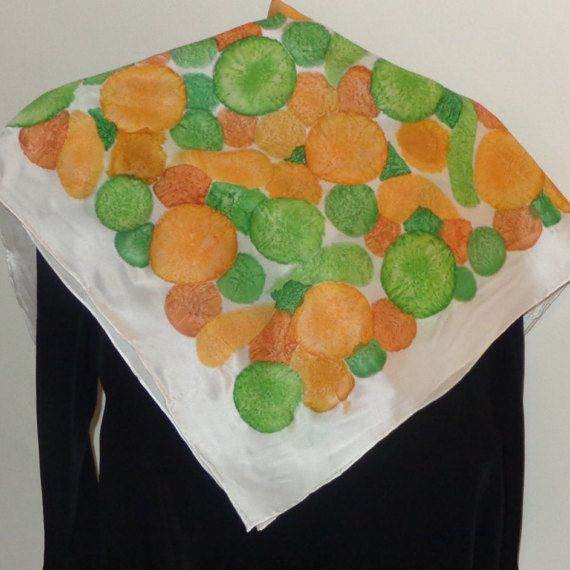Bubbles orange and green. Square hand painted silk by Scarfaki