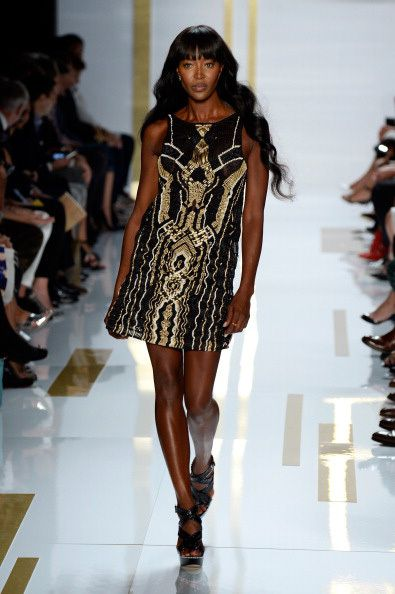 Naomi Campbell on the runway at the Diane Von Furstenberg New York Fashion Week Show.