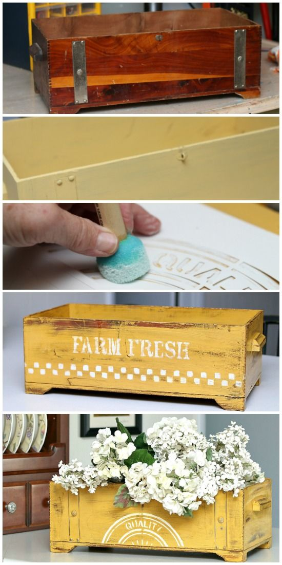 Thrift store crate painted with pre-mixed milk paint in sunny yellow. Farm fresh is stenciled in white on one side and Quality is stenciled on the opposite side.