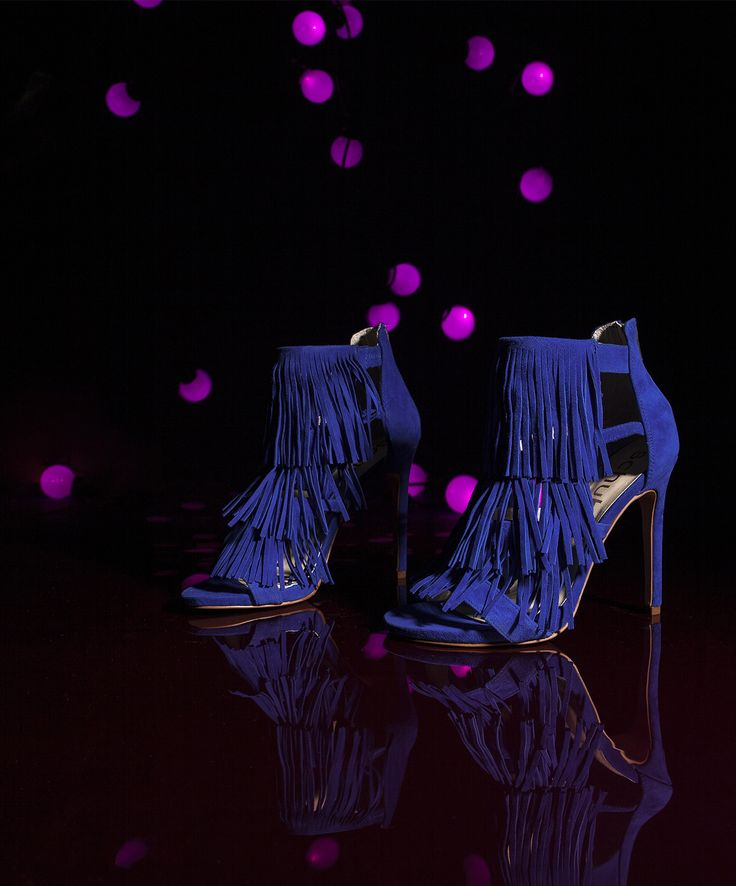 Blue fringe: high heel perfection.