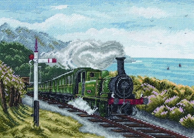 This counted cross stitch design from Anchor features a steam train on a coastal track. Anchor Cross Stitch Kit contains: 16 Count White Aida Anchor Stranded Cotton Chart and Instructions Needle Cross Stitch Finished Size: 21 x 30 cm (8¼