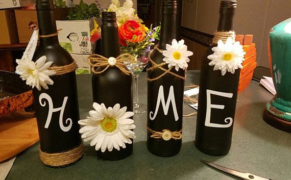 Wine Bottle Home Decor by Sharonswoodandcrafts on Etsy