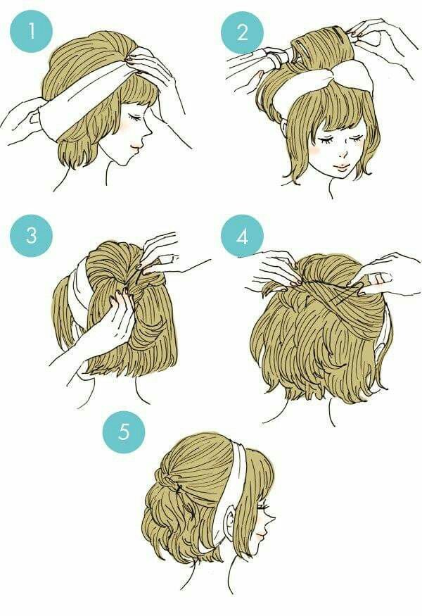 Headband or scared hairstyle for my short haired beauties:)
