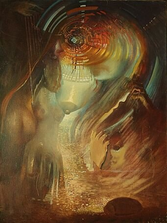 Madonna kosmiczna, obraz olejny na płótnie, oil on canvas by Leszek Gesiorski
