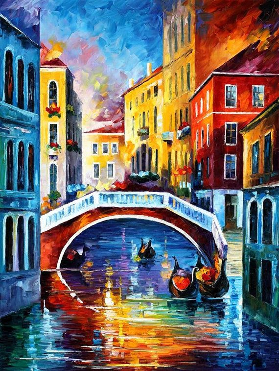 "Venice Morning — PALETTE KNIFE Cityscape Modern Wall Art Decor Oil Painting On Canvas By Leonid Afremov - Size: 30"" x 40"" (75 cm x 100 cm)"