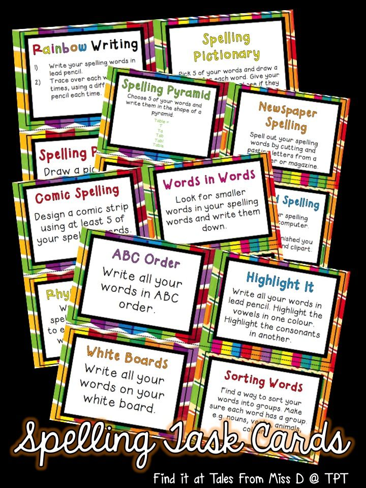 A set of 22 spelling activity cards. Activities included: * Rainbow Writing * Spelling Pictures * Spelling Pictionary * Spelling Sentences * Pyramid Spelling * Bubble Writing * Newspaper Spelling * Keyboard Spelling * Comic Spelling * Rhyming Words * Words in Words * Spelling Stories * ABC Order * White boards * Highlight It * Sorting Words * Backwards Words * Test Your Friend * Magnetic Words * Write a Letter * Word Hunt * Spelling Bingo