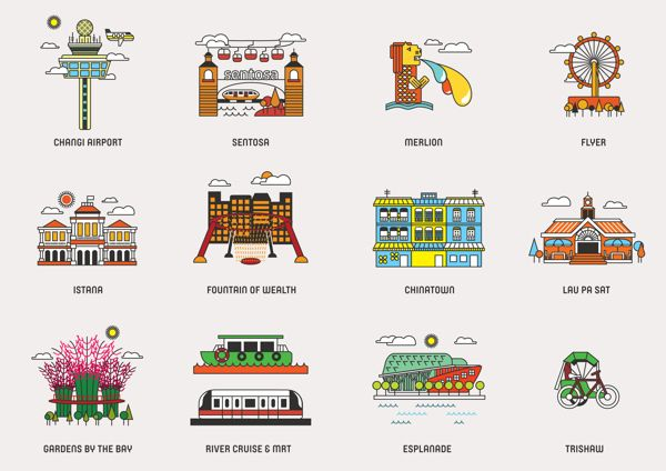 Singapore designer Zoe Lai created a series of Icons of Singapore for a company that manufactures shirts for tourists.