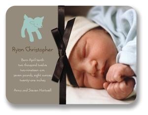Sweet Lamb & Brown Bow Digital Photo Birth Announcement Cards William Arthur