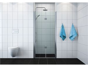 VikingBad dusjdør leddet 100cm, høyre Klart glass, sølv profil, 195 cm