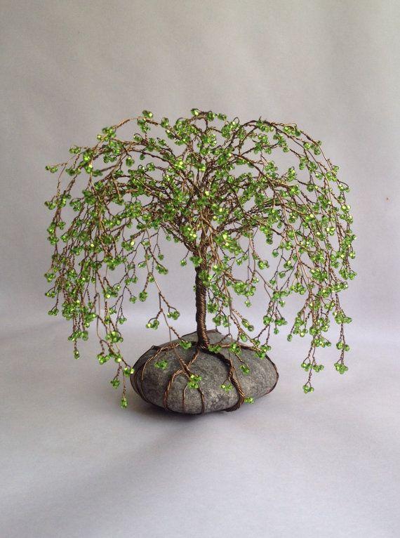Pleurant Willlow arbre sculpture Unique perles par MyTwistedArt