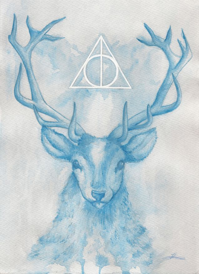 'Expecto Patronum' by JadeJonesArt. Watercolour painting of a stag with the deathly hallows inspired by the movie and books Harry Potter. https://www.etsy.com/uk/shop/JadeJonesArt