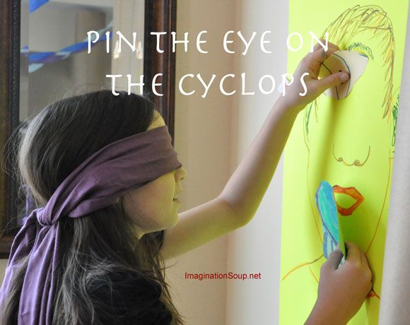 Great party ideas on this site - pin the eye on the cyclops A Book Themed Percy Jackson Birthday Party