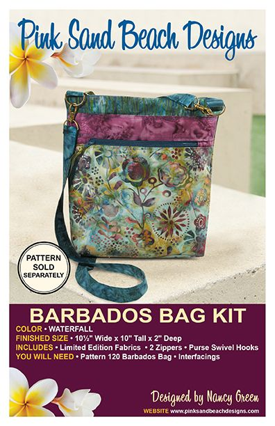 Pink Sand Beach Designs Barbados Bag Fabric Kit - WATERFALL + Free Pattern
