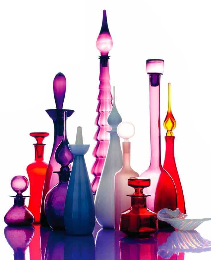 mid century glass in purples and reds