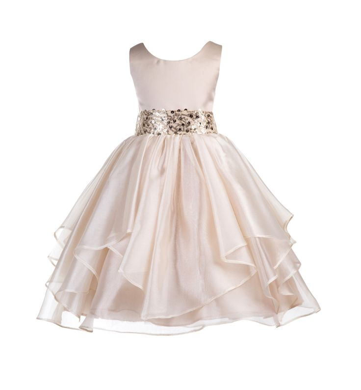 Wedding Asymmetric Ruffles Satin Organza champagne Flower girl dress sequin sash bridesmaid toddler receptions gown sizes 4 6 8 10 12 #012 by ekidsbridalusa on Etsy https://www.etsy.com/uk/listing/269484129/wedding-asymmetric-ruffles-satin-organza