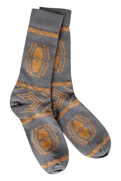 Men's Aztec Socks, Charcoal