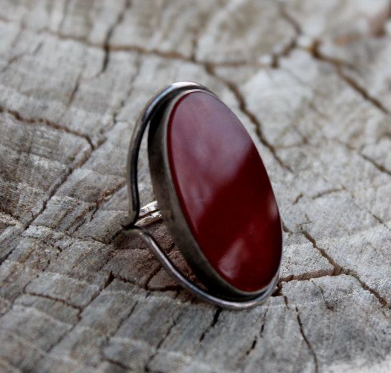 Vintage Red Oval Carnelian Silver Ring- Large Chunky Ring (75.00)