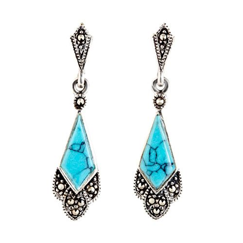 These elegant Art Deco style stud earrings have a dainty fan drop design embellished with genuine Turquoise and Marcasite gemstones. Made using hallmarked Sterling silver, they have a very high quality finish and timeless appeal that makes them the ideal gift for any Art Deco lover.