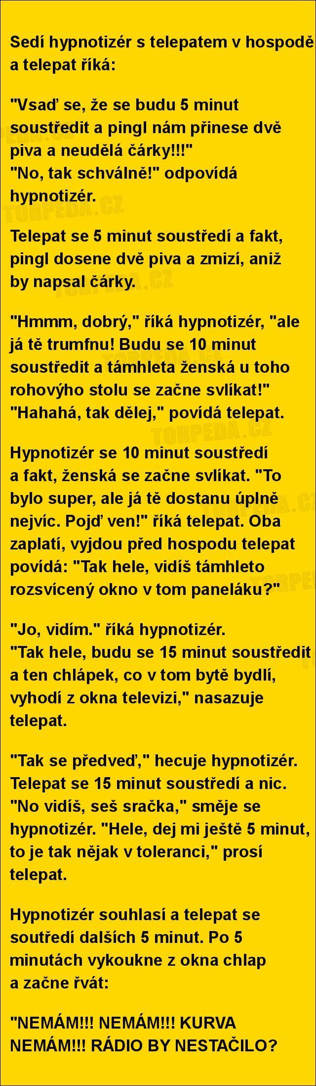 Sedí hypnotizér s telepatem v hospodě a telepat říká... | torpeda.cz - vtipné obrázky, vtipy a videa