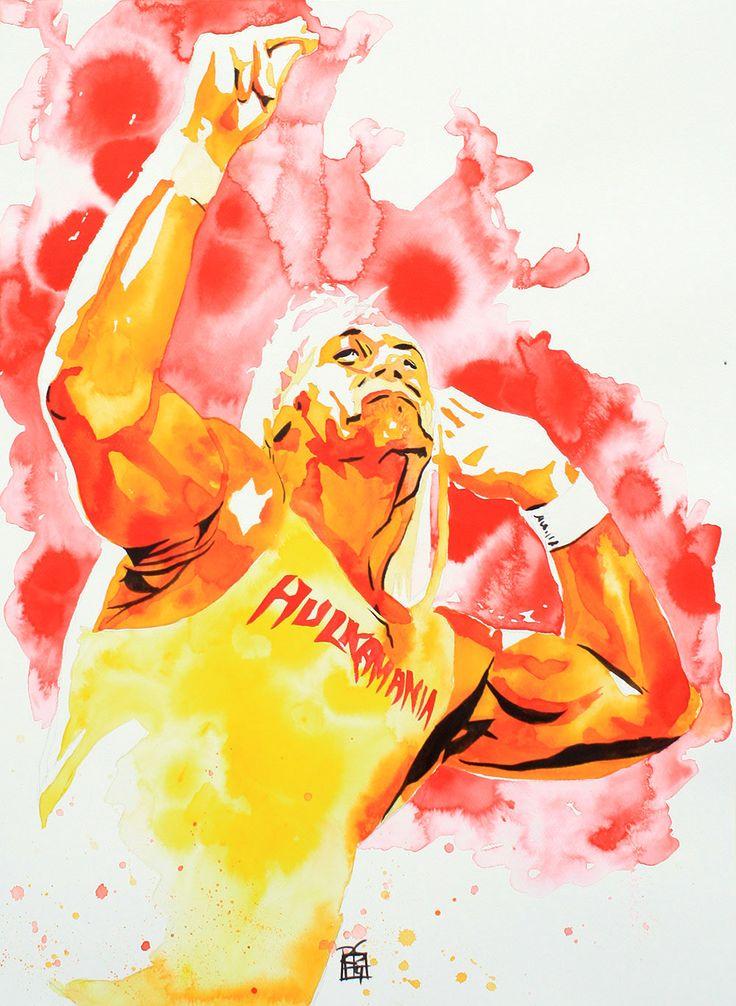 "Hulk Hogan Ink and liquid acrylic on 22"" x 30"" watercolor paper http://www.robschamberger.com"