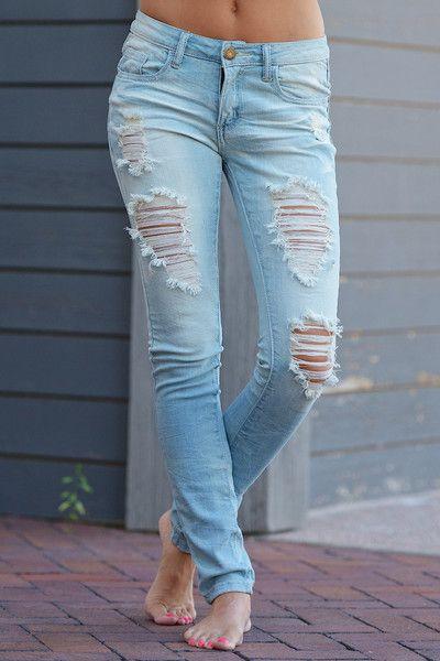 Machine Distressed Skinny Jeans - Amanda Wash