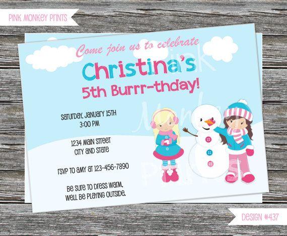 137 best Childrens Birthday Invitations images – Snowman Birthday Invitations