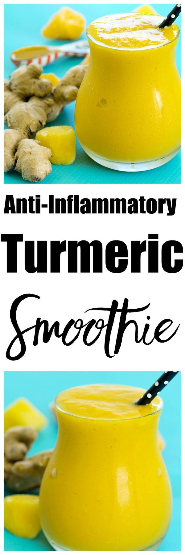 Reduce inflammation with this anti-inflammatory turmeric smoothie recipe. This healthy smoothie recipe is great for breakfast or snack. Turmeric might become one of your most favorite foods--get it into your diet with this smoothie!