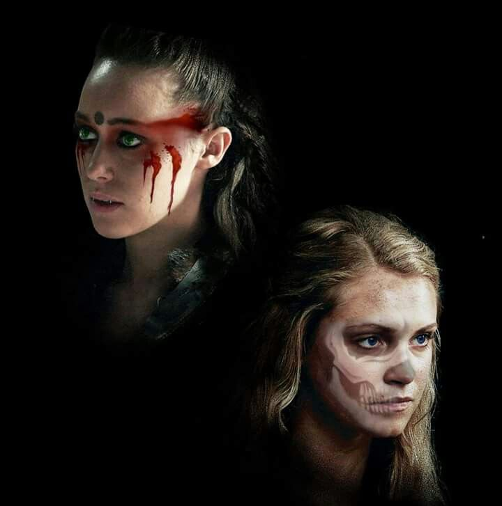 """Commander Lexa of the Grounders (played by Alycia Debnam-Cary) and Clarke Griffin leader of the 100 (played by Eliza Taylor in """"The 100"""" (CW TV series)"""